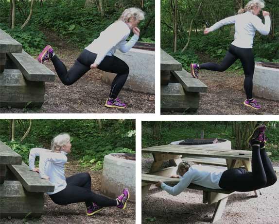 Övningar: Bulgarian split med hopp, sittande dips, höftsträckning.