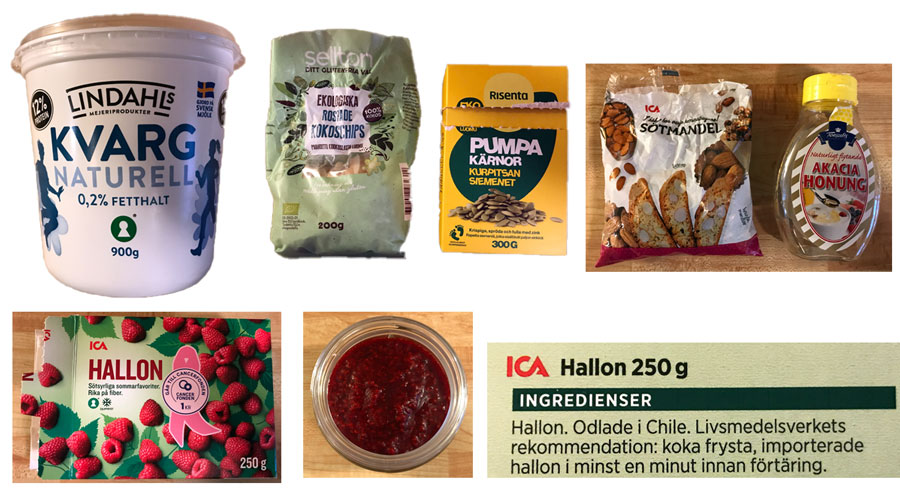 De olika ingredienserna till mellanmål med kvarg, hallon, kokoschips mm.