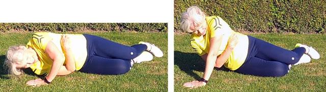 Tricepsövning. Enarms tricepspress. Start- och stoppläge.