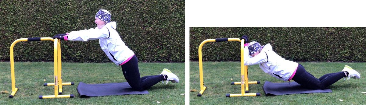 Tricepsövning med parallel bars. Tricepspress. Start- och stoppläge.