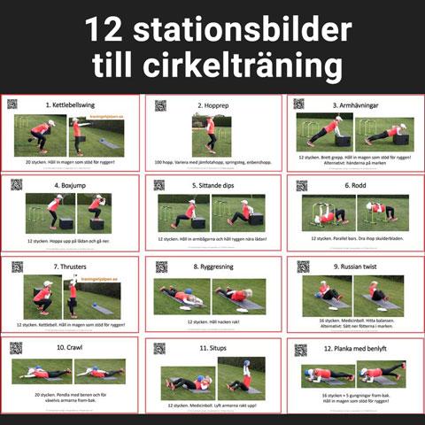 Stationsbilder till cirkelträning - styrka och spänst.